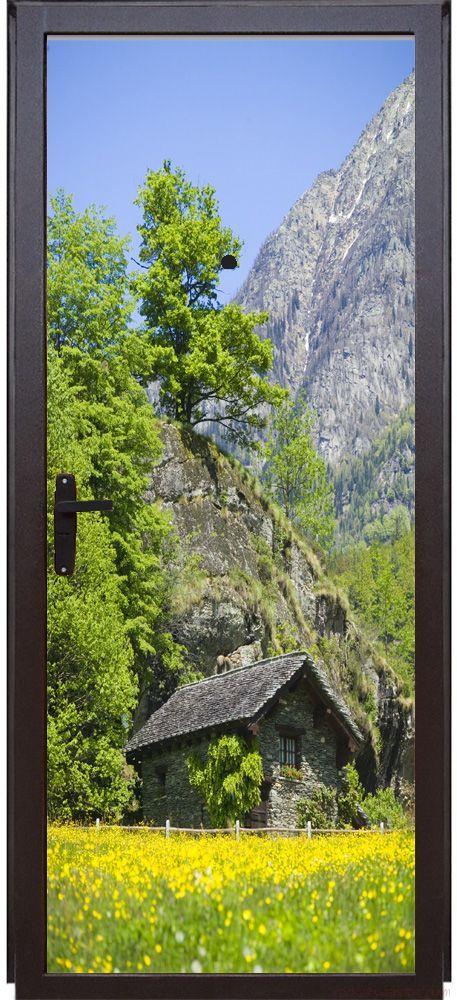 Наклейка на дверь - Дом в горах