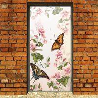 Виниловая наклейка на дверь - Floral-2