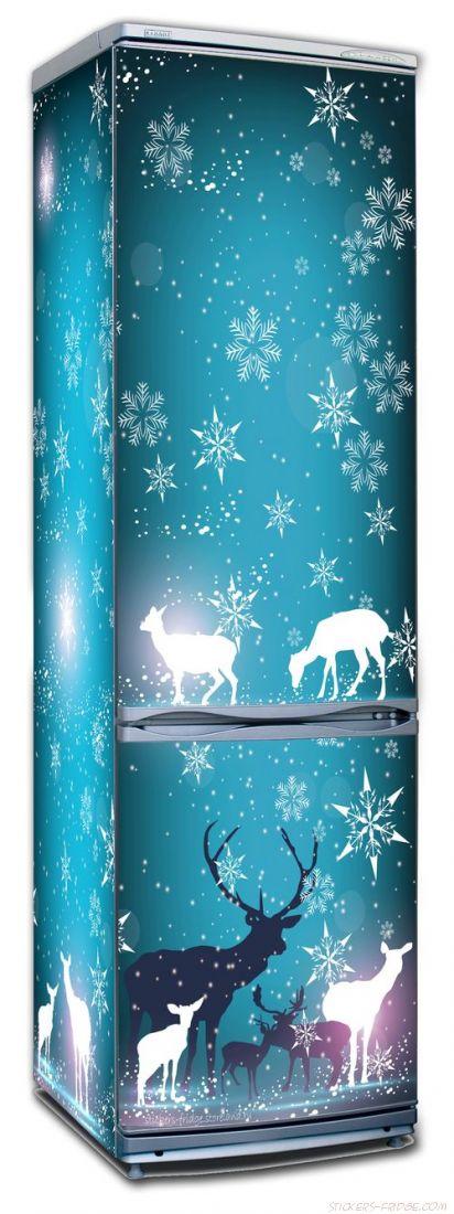 стикер на холодильник - Северное сияние