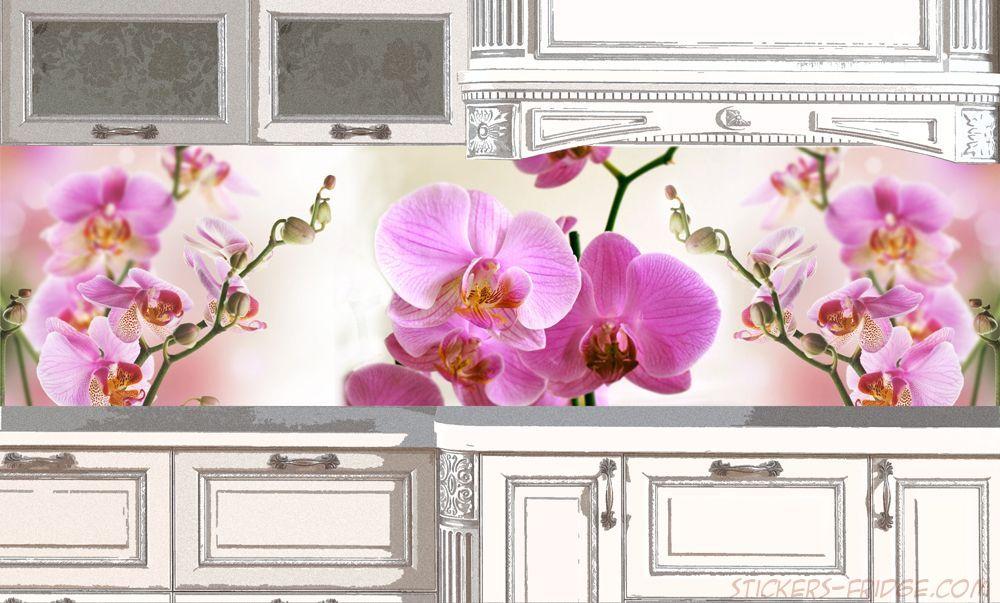 Фартук кухни с фотопечатью - Орхидеи
