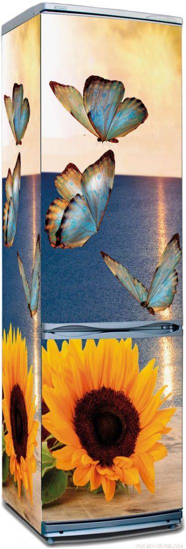 наклейка на холодильник - Бабочки и подсолнух