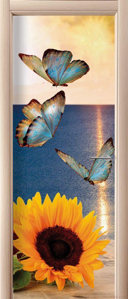 Фотообои на дверь - Бабочки и подсолнух