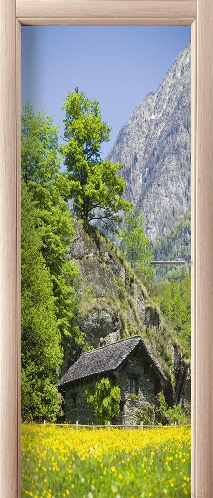 Фотообои на дверь - Дом в горах