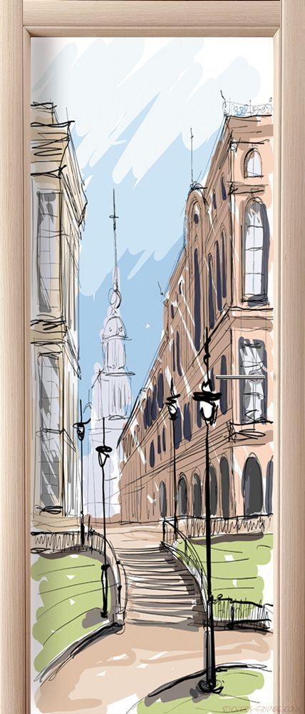 Фотообои на дверь - Город. скетч 2