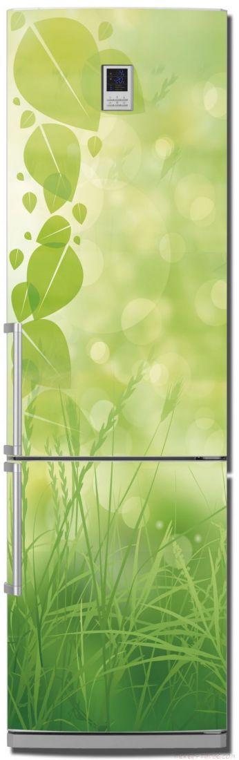 Наклейка на холодильник - Зеленая трава.