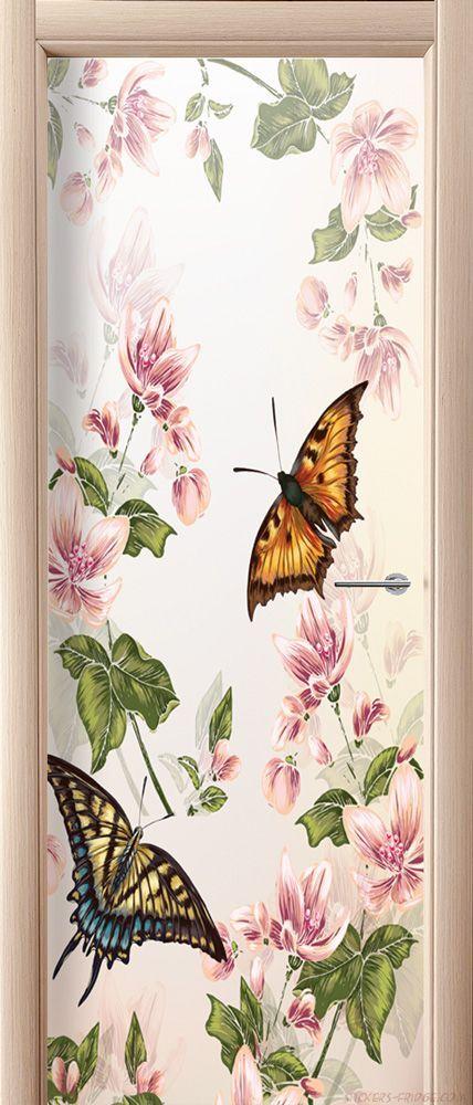 Наклейка на дверь - Floral-2