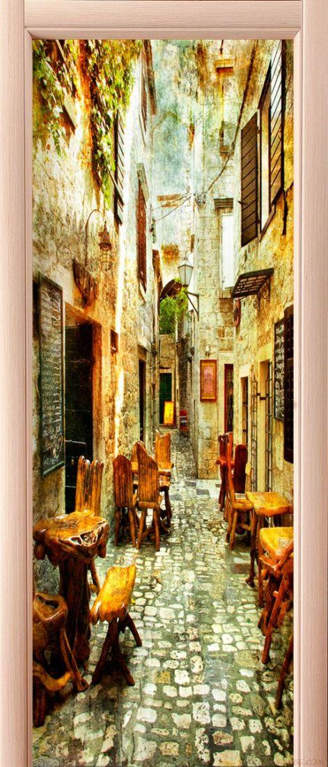 наклейка на дверь - старые улочки Греции 1